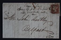 UK  Letter 1d Red Plate 24 OK  Cancelled By Maltese Cross London -> Belfast 1842 2e Strike At Base - 1840-1901 (Victoria)