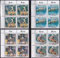 """BRD, 1992 Nr. 1592-1595 **,  4 Viererblöcke Mit Eckrand Oben Links,  """"Sporthilfe"""" - Nuovi"""