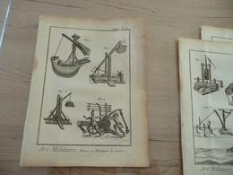 Rare Gravure Estampe Originale Diderot D'Alembert 1778  19.5 X 25.7 Arts Militaire Catapultes En L'état Coin Droit  Impa - Documents