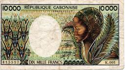 BILLET DE 10000 MILLE FRANCS   RÉPUBLIQUE GABONAISE - K.001 - Gabon
