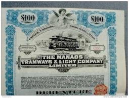 Brazil Manaos Tramways & Light Company Lim. 1909 + Coupon Sheet - Transports