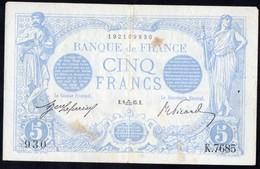 France- 5 Francs Bleu Du 09/09/1915 - 5 F 1912-1917 ''Bleu''