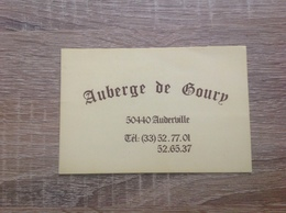 Carte De Visite De Restaurant    Auberge De Goury     Auderville 50440 - Cartes De Visite