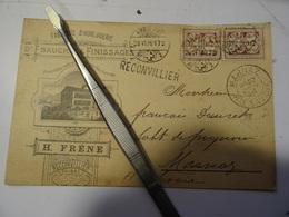 SUISSE  Carte FRENE  A RECONVILLIER Griffe-  Fabrique D Horlogerie  1896 Pour La FRANCE MARNAZ AMBULANT - Cartas