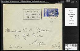 MAURY N° 1094: MANUFACTURE DE SEVRES - S/LETTRE  PR SUISSE DU 1/4/1957 - Poststempel (Briefe)