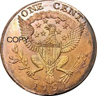 United States * 1 Cent 1791 * Washington, Small Eagle * ⌀ 30 Mm * REPRODUCTION - 1793-1796: Primizie