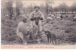 40-LANDES- BERGER FILANT À L'AIDE DU ROUET-ANIMÉE - France