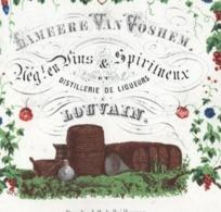 LEUVEN Brouwerij ALMEERE VAN VOSHEM Porceleinkaart Gekleurd, Druivenrank Litho Handpress 17c8cmX13,5cm Daveluy - Autres Collections