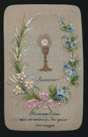 IMAGE PIEUSE CANIVET EN CELLULOID SOUVENIR 1ER COMMUNION COLLAGE  1889 JOSEPH INGELS ST AMANDSBEG  2 SCANS - Images Religieuses