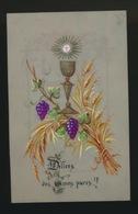 IMAGE PIEUSE CANIVET EN CELLULOID SOUVENIR 1ER COMMUNION 1889 AMURY & RENE BEGEREN GENT   2 SCANS - Images Religieuses