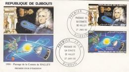 FDC DJIBOUTI COMETE DE HALLEY 1986 - Djibouti (1977-...)