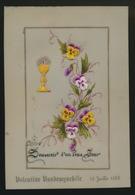 IMAGE PIEUSE CANIVET EN CELLULOID SOUVENIR 1ER COMMUNION COLLAGE 1888 VALENTINE VANDEWYNCKE  2 SCANS - Images Religieuses