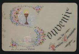 IMAGE PIEUSE CANIVET EN CELLULOID SOUVENIR 1ER COMMUNION DE SUZANNE FIEVE  2 SCANS - Images Religieuses