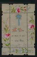 IMAGE PIEUSE CANIVET EN CELLULOID SOUVENIR 1ER COMMUNION 1899 MARGUERITE  2 SCANS - Images Religieuses