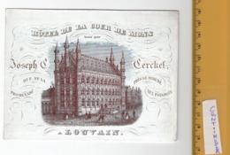 1 Porceleinkaart LOUVAIN Joseph Cerckel 15,3cm X 11,3cm   HOTEL De La Cour De MONS - Litho Handpress Daveluy - Cartes De Visite