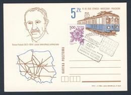 Poland Polska Polen 1990 Karte Card – 4 Jahre Zentrales Planungs- Und Forschungsamt Für Eisenbahnbau - Roman Podoski - Treinen