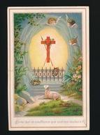 IMAGE PIEUSE CANIVET EN CELLULOID SOUVENIR 1ER COMMUNION 1884  JEAN BEERNAERT  2 SCANS - Images Religieuses