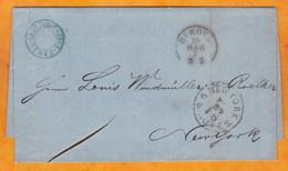 1868 - Enveloppe Pliée Avec Corresp De Messina, Sicile, Italie Vers New York, USA Par COURRIER FERME Via Allemagne - Marcophilie