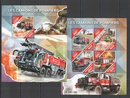 ST2102 2015 NIGER TRANSPORT CARS FIRETRUCK CAMIONS DE POMPIERS KB+BL MNH - Vrachtwagens
