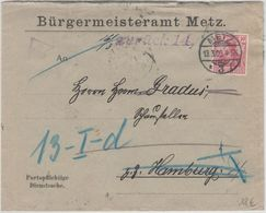 """DR - """"Ohne Wohnungsangabe...""""Ra4 A. Brief Metz - Hamburg 1909 Retourbrief - Allemagne"""