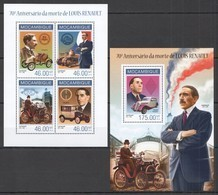 ST2472 2014 MOZAMBIQUE TRANSPORT CARS 70TH ANNIVERSARY LOUIS RENAULT KB+BL MNH - Cars