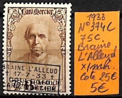 [831442]TB//*/Mh-c:25e-Belgique 1933 - N° 374C, 75c, BRAINE L ALLEUD - Bélgica