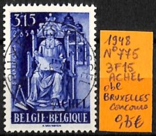 [831890]TB//O/Used-Belgique 1948 - N° 775, 3F15, Achel, Obl, BRUXELLES, Concours - Belgique