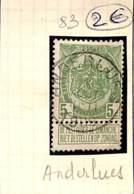[831955]B/TB//O/Used-Belgique 1907 - N° 83, ANDERLUES, Armoiries - 1893-1907 Wapenschild