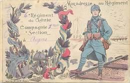 -ref C365- Militaria - Régiments - 6e Regiment Du Génie - Angers - Maine Et Loire- Illustrateur Malespina - Illustateurs - Régiments