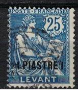 LEVANT           N°  YVERT  17   ( 5 )        OBLITERE       ( Ob   5/61 ) - Usati