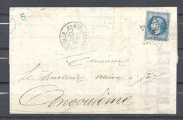 Napoléon III De Paris à Angoulême - Marcophilie (Lettres)