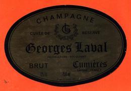 étiquette + Etiq De Dos De Champagne Brut Georges Labal à Cumières - 75 Cl - Champan