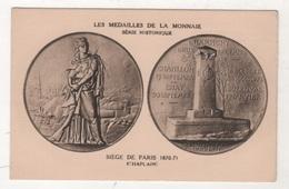 CP LES MEDAILLES DE LA MONNAIE SERIE HISTORIQUE - SIEGE DE PARIS 1870-71 - CHAPLAIN - CHAMPIGNY CHATILLON LE BOURGET ... - Monnaies (représentations)