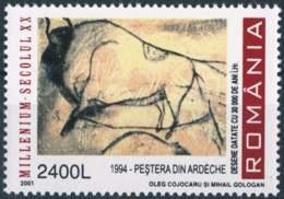 929  Grotte Chauvet-Pont D'Arc, Bison: Timbre 2001 - Chauvet Cave Painting, Steppe Wisent. Archaeology Speleology UNESCO - Prehistory
