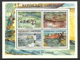 GABON 1991  FISHING SHEET  MNH - Gabon (1960-...)
