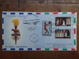 GRECIA - Aerogramma Atene-Roma - Olimpiadi Roma 1960 + Spese Postali - Luftpost