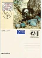 AUSTRALIE. L'ému Australien (Émeu), Carte-maximum  1992  (entier-postal) Deux Cotés. Timbre ATM Frama - Straussen- Und Laufvögel