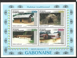 GABON 1996 TRADITIONAL HABITATS SHEET  MNH - Gabon