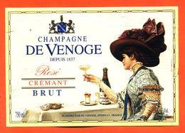 étiquette De Champagne Brut Rosé De Venoge à épernay - 75 Cl - Champagne