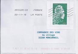 MARIANNE L'ENGAGEE N° 5286 Du Carnet 1525A SUR LETTRE DU 22.11.18 - 2018-... Marianne L'Engagée
