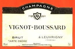 étiquette De Champagne Brut Vignot Boussard à Leuvrigny - 75 Cl - Champan