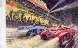 24 Heures Du Mans 1954  -  Ferrari - DB  -  Art Card By Géo Ham -  Carte Postale Moderne - Le Mans