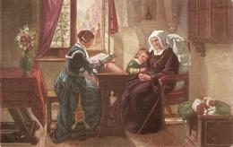 ". ""A.Siegert. Am Sonntag""· Fine Painting, Vintage German Postcard - Mujeres"