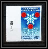 France N°1520 Cote 130 Jeux Olympiques (olympic Games) D'hiver Grenoble 1968 Non Dentelé ** MNH (Imperforate) - Non Dentelés