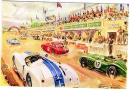 24 Heures Du Mans 1954  -  Cunningham - Aston Martin  -  Art Card By Géo Ham -  Carte Postale Moderne - Le Mans