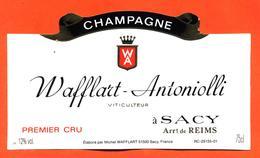 étiquette De Champagne Brut Wafflart Antoniolli à Sacy - 75 Cl - Champan