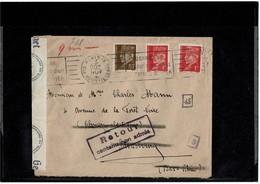 LCTN59/ALS/PM - LETTRE PARIS / STRASBOURG CENSUREE RETOUR CONTENU NON ADMIS - Alsace-Lorraine