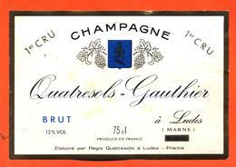 étiquette De Champagne Brut Quatresols Gauthier à Ludes - 75 Cl - Champan