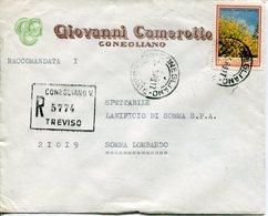 """Italia (1969) - 180 Lire """"Flora"""" Su Raccomandata Da Conegliano Veneto - 6. 1946-.. Repubblica"""