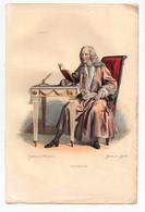 Gravure 19ème Réhaussée De Voltaire écrivain Philosophe Dessinée Par Boulerweck Gravée Par Geille - Prints & Engravings